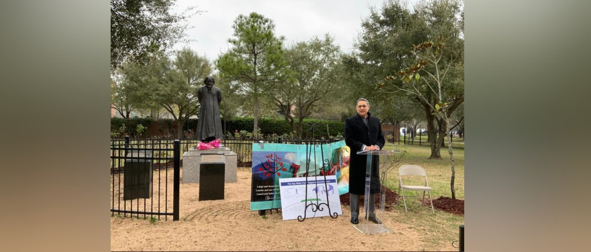 Consul General attended the celebrations organised by the Tagore Society to mark the 100th anniversary of the visit of Rabindranath Tagore to Houston at the Tagore Grove, Ray Miller Park on 23 February 2021.