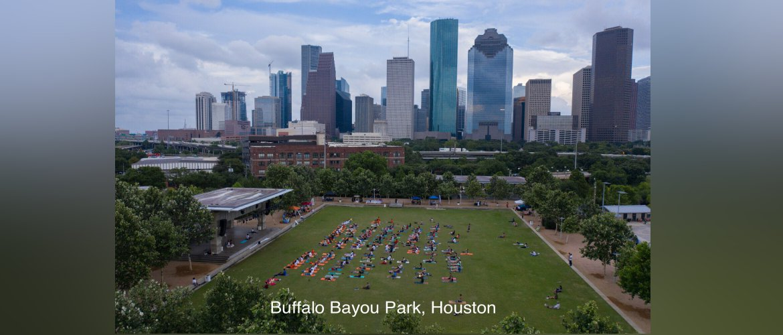 Celebration of International Day of Yoga 2021 at Buffalo Bayou park, Houston on 20 June 2021