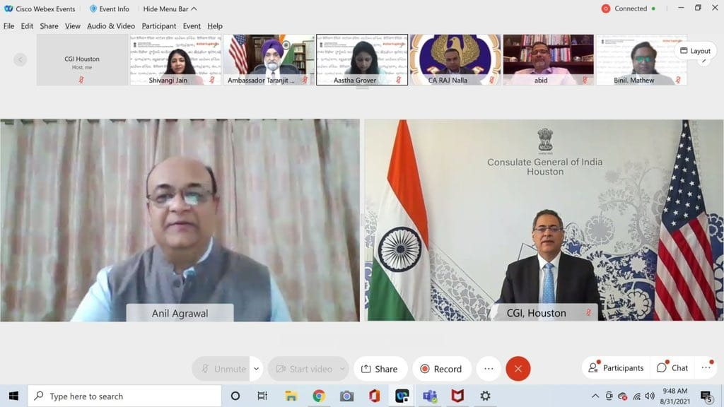 """Consulate General of India, Houston Organized a webinar """"India-US Partnership Opportunities in Startup Ecosystem"""" along with various partners  on August 31, 2021"""