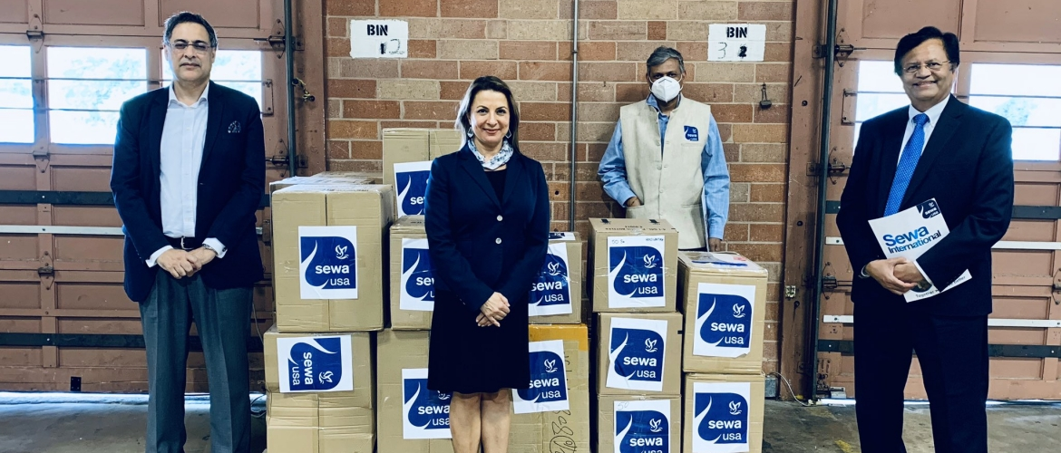 Donation of face masks and hand sanitizers from Sewa International USA Houston Chapter to the State of Texas in the presence of Secretary of State Ruth R Hughs and Consul General
